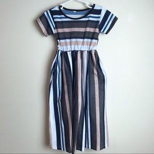 EUC Striped Maxi Dress Pockets 4T